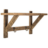 Natural Wood Wall Shelf with Metal Hooks